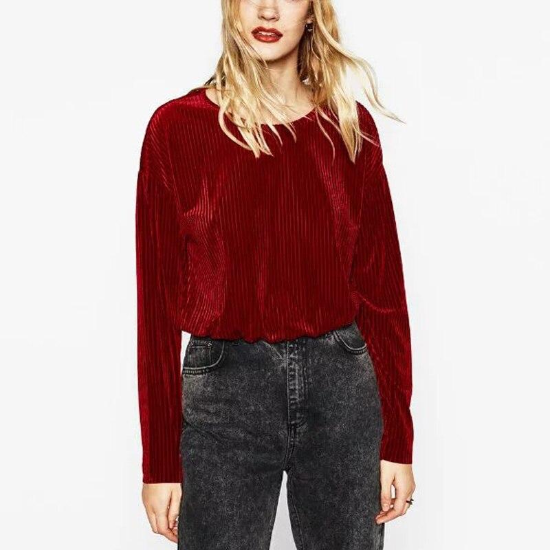 Women Velours Long Sleeve Pullover <font><b>T</b></font> <font><b>Shirt</b></font> In <font><b>Rib</b></font> Ladies <font><b>Solid</b></font> <font><b>Color</b></font> Velvet Tops <font><b>Shirts</b></font>