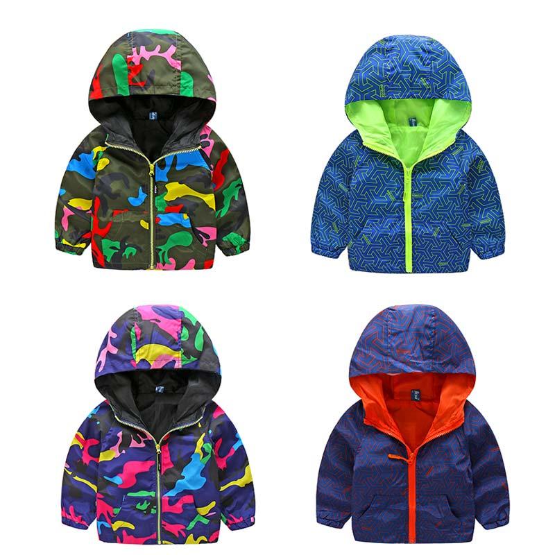 2017 New Arrivals Children Spring Camo Sport Coats Boy Girl Hooded Costume Kids Fluorescent Outdoor Windbreak