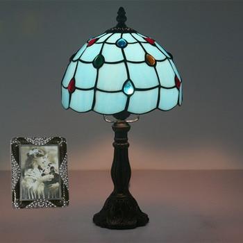 8 zoll Mittelmeer Blau Glas Tisch Lampe Mode Nette Schlafzimmer Nachttisch Lampe Europäischen Retro Tisch Licht