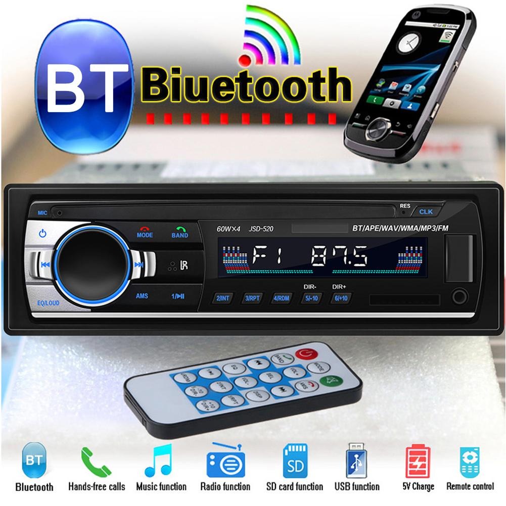 Universal Car Radio MP3 Player Bluetooth 2.0 Stereo USB/SD/FM Hands free Call USB Disk MP3 Radio Player Aux Input 3.5mm Receiver