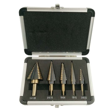 5pcs INCH Cobalt Multiple Hole Step Drills 3/16-1/2,1/8-1/2,1/4-3/4,3/16-7/8,1/4-1-3/8 HSS Aluminum Case