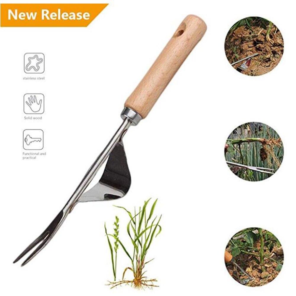 Tangan Alat Taman Outdoor Penghapusan Stainless Steel Lahan Pertanian Penarik Dandelion Manual Menggali Rumput Multifungsi Weeder Transplantasi title=