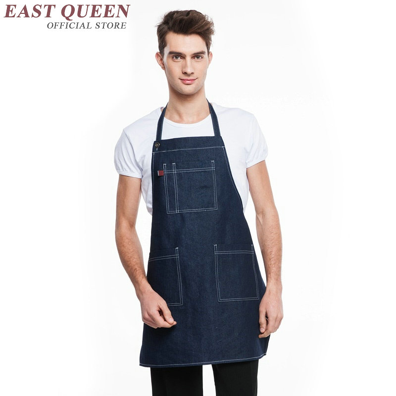 Denim work aprons for woman men restaurant uniforms cafe