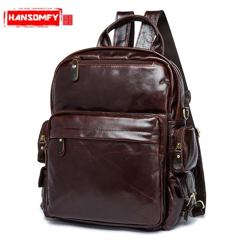 100% натуральной кожи рюкзаки Для мужчин сумка обувь для мужчин и женщин с пунктом путешествия рюкзак случайные молнии кожаные сумки