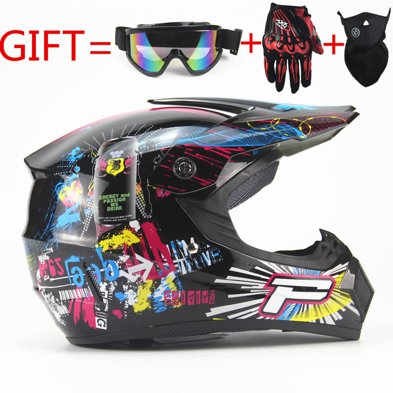 цена Adult motorcycle motocross Off Road Helmet ATV Dirt bike Downhill MTB DH racing helmet cross Helmet capacetes with FREE gifts