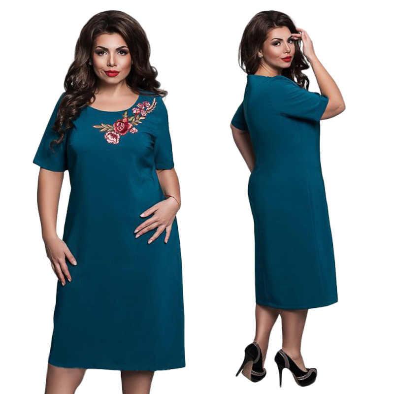 bedda474438 QMGOOD 2018 Лето Размеры вышивка карандаш платье короткий рукав одноцветное элегантное  платье для Для женщин жира