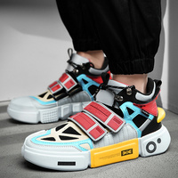 Men's Chunky Hip Hop Sneakers Dad High Platform Shoes Off Classic Kanye White Reflective Lighted Sneakers Tenis Masculino #700v2