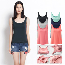 Summer Women Tanks Camisole Fitness A T Shirt Top 100% Cotton Singlet w Padding Plus Size Basic Tank Top