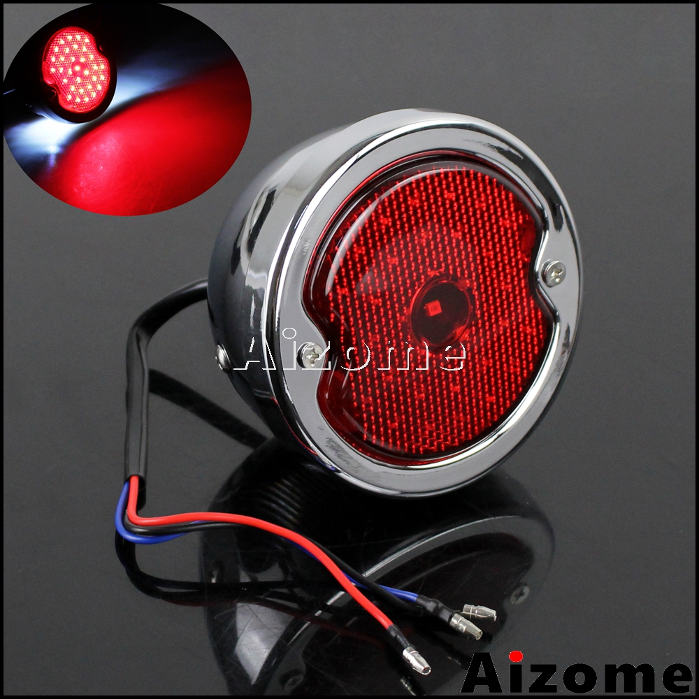 Motorcycle LED Taillight Red Lens For Harley Custom Cafe Racer Bobber Chopper Pickups Wagons Chrome Side Mount Rear Stop Light