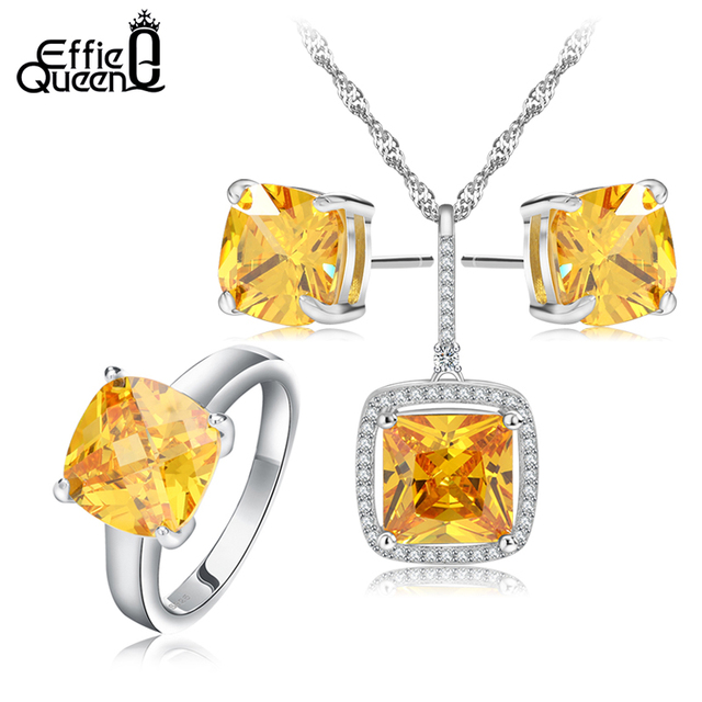 Effie Queen Fashion Wedding Jewelry Set Platinum Plated Yellow Zircon Necklace/Earrings/Ring Set Choose Size for Ring WS65