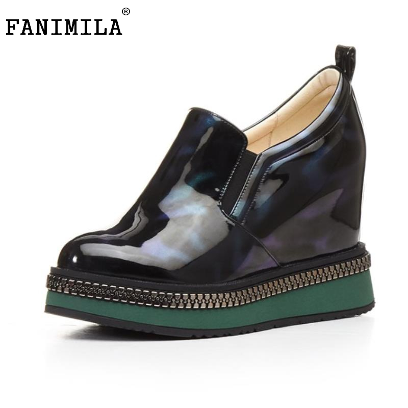 Women s Genuine Leather Wedges High Heels Shoes Women Vintage Pumps Height Increasing Leisure Shoes Ladies
