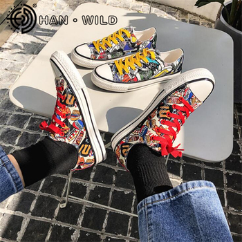 High Qualtiy Men Graffiti Flat Men Sneakers High/Low Top Male Casual Canvas Shoes Street Fashion Skateboard Shoes Tenis Shoes image