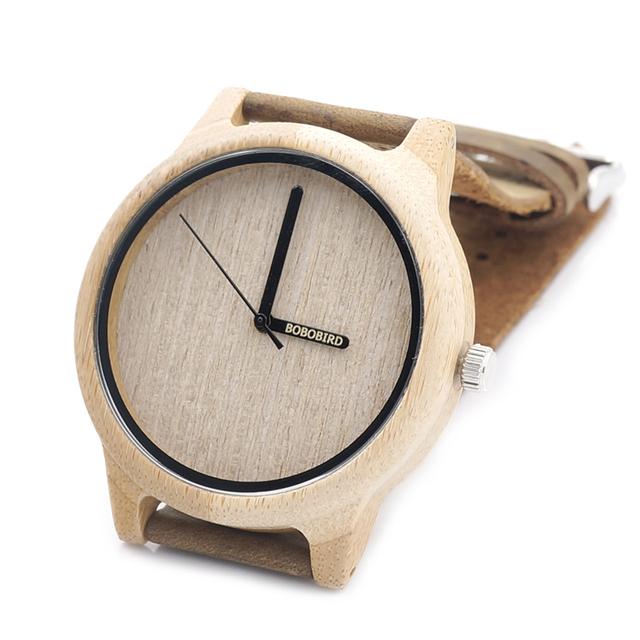 BOBO A22 PÁSSARO de Bambu De Madeira Relógio De Quartzo Dos Homens Top Marca de Luxo Relógio De couro de Madeira Logo Silk-Screen na Hora Mão erkek kol saati