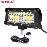 VISORAK 7 Inch 120W LED Work Light Bar Combo 12V 24V Offroad LED Bar For Jeep