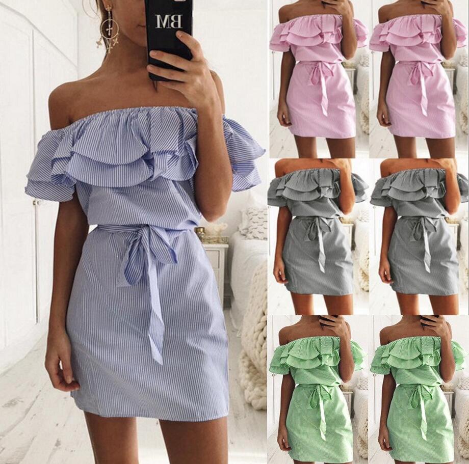 С открытыми плечами без бретелек полосатые оборками платье Для женщин 2018 летние сарафаны пляжные Повседневная рубашка Короткие мини Платья для вечеринок роковой