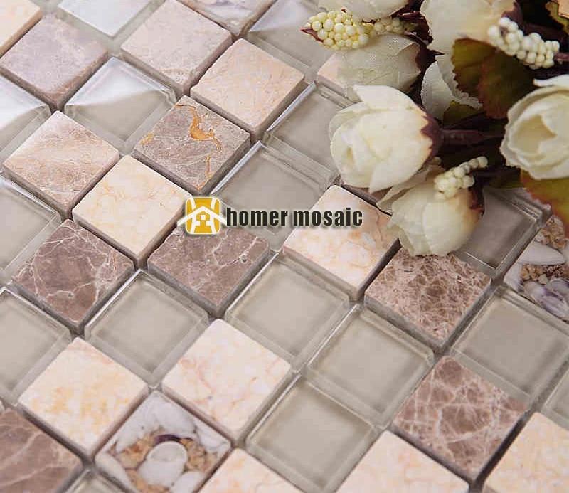 carreaux de mosaique de marbre verre carre transparent couleur beige mixte pierre carrelage pour salle de bains carrelage de douche carrelage de