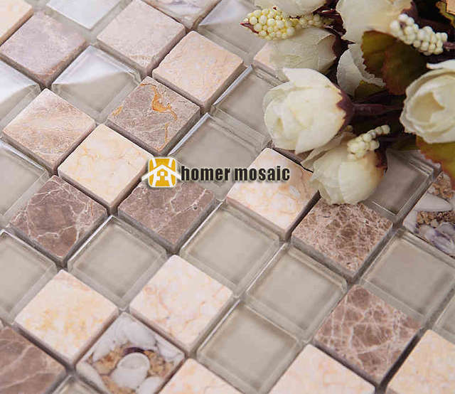 Square Clear Glass Mixed Beige Color Stone Marble Mosaic Tile For Bathroom  Shower Tiles Kitchen Backsplash