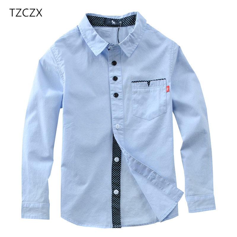 TZCZX-3030 Hot Sale Children Boys Shirts Cotton Solid Kids Shirts Clothing For 4-12 Years Wear ...