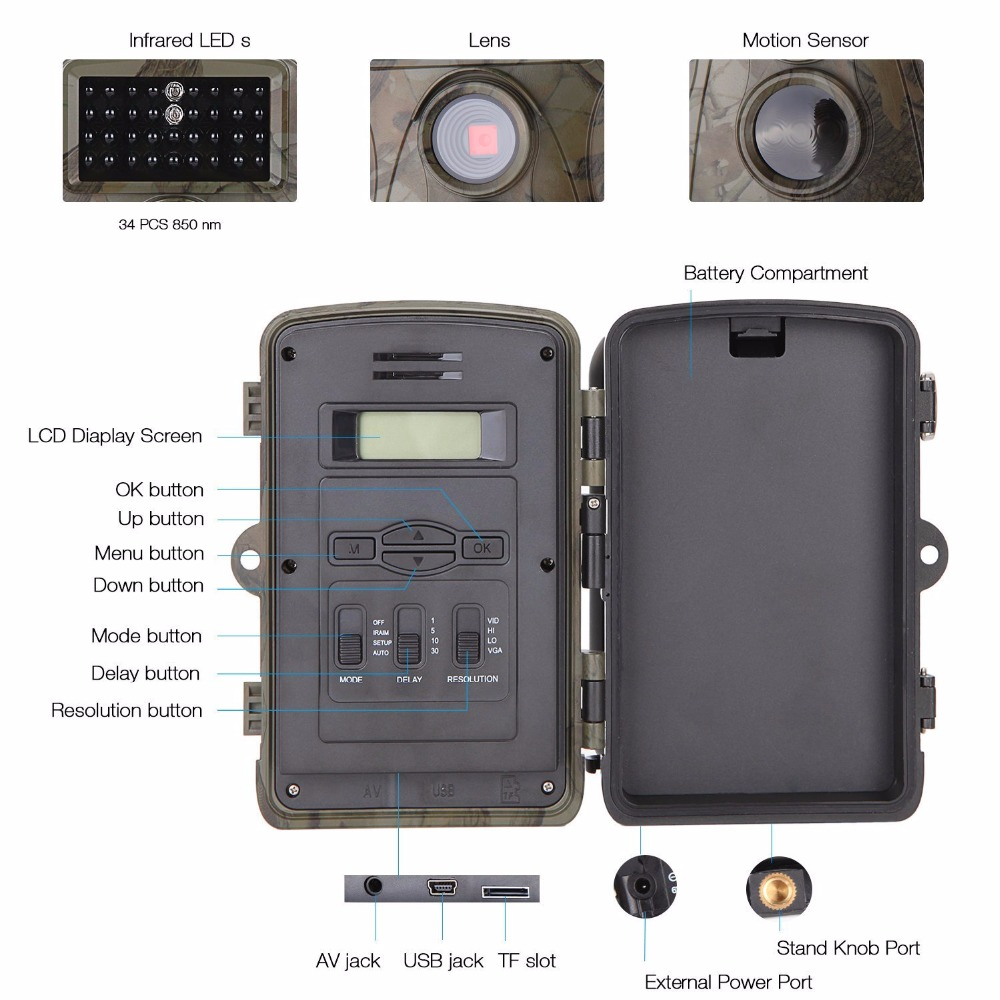 12MP 720P Hunting Camera H3 IP54 Waterproof Wild Trail Camera Infrared Night Vision Animal Observation Recorder 01