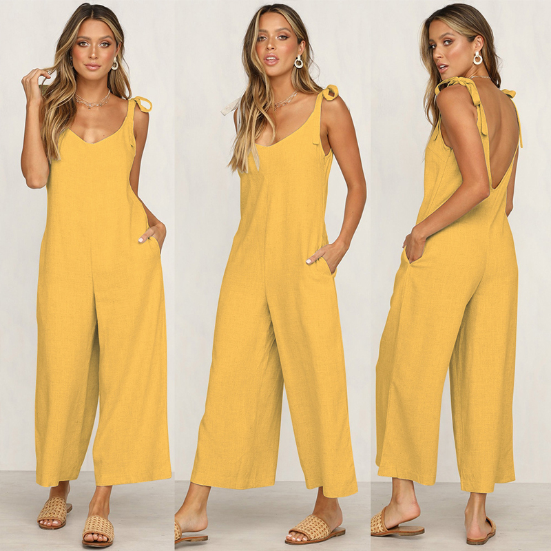2019 spring and summer four-color banded loose jumpsuit Long Wide Leg   Romper   Strappy casual pocket ladies Vacation jumpsuit