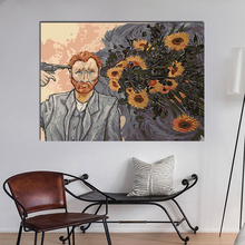 Van Gogh shot himself to shoot a sunflower creative description paintings drawing coloring by numbers on canvas with frame