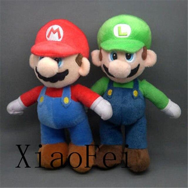 """2 Шт./компл. New Super Mario Bros. стенд LUIGI & MARIO Плюшевые Куклы мягкая Игрушка 10 """"Рождественский Подарок Ребенку"""