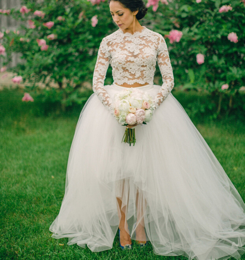 2016 White Long Sleeve Lace Wedding Dress Ball Gown 2 Two