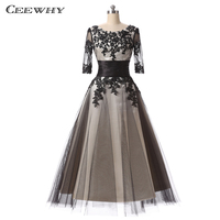 CEEWHY Three Quarter Sleeves Vintage Elegant Mid long Evening Dress 2017 Embroidery Lace Prom Dress Special Occasion Gowns