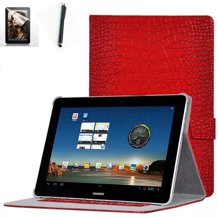 Free Shipping 3in1 10.1 inch Luxury Kit Stand Case Crocodile Leather Cover for HUAWEI Mediapad 10 FHD 10 Link capa funda