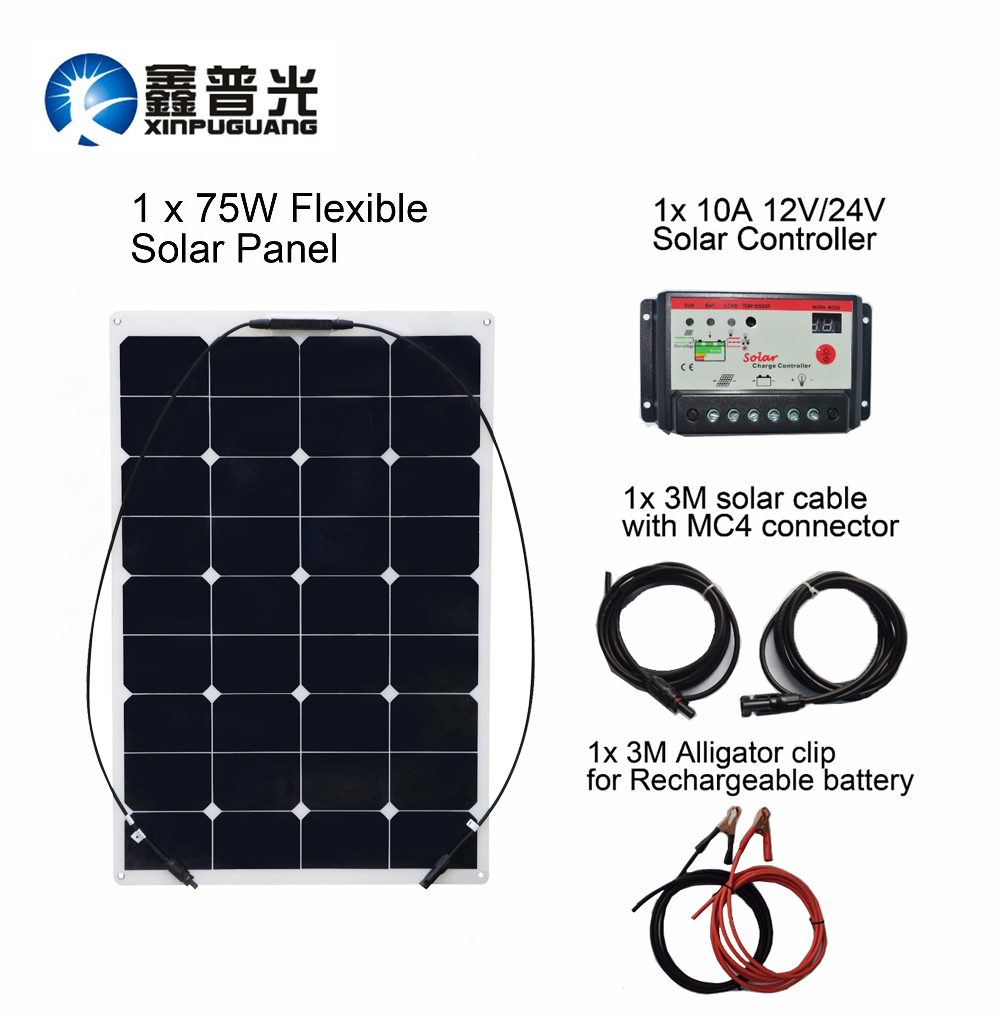 hight resolution of boguang 75w diy rv boat kits solar system 75w flexible solar panel 10a solar controller 1 set 3m mc4 cable 1 set clip