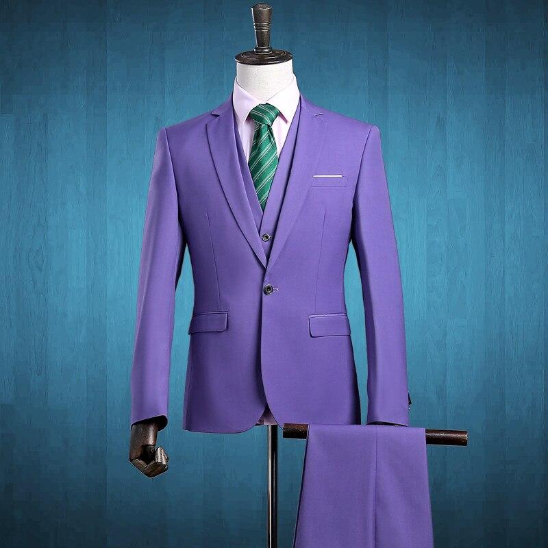 2017 Purple Three Piece Mens Suits Slim Fit One Button Formal Suits Wedding Suit Business Mens Formal Wear (Jacket+Pants+Vest)