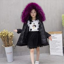 2017 Childrens Down Jackets Patchworked Big fur collas Girls Long Coats filling duck down 3-8Y Kids Fur Coats Detachable Clothes
