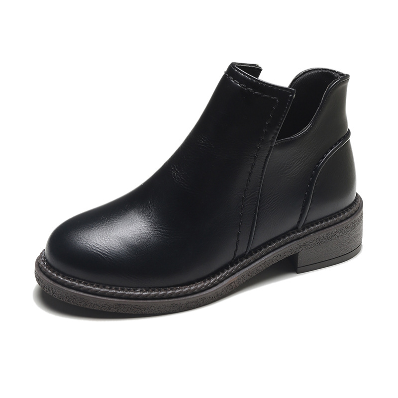 Otoño Nuevo 2018 35 Pu Negro Mujer on marrón Moda Caliente Motocicleta Zapatos Solid 40 Slip Mujeres Botas Tamaño Arranque Martain De Tobillo Cuero 5wwErqSC