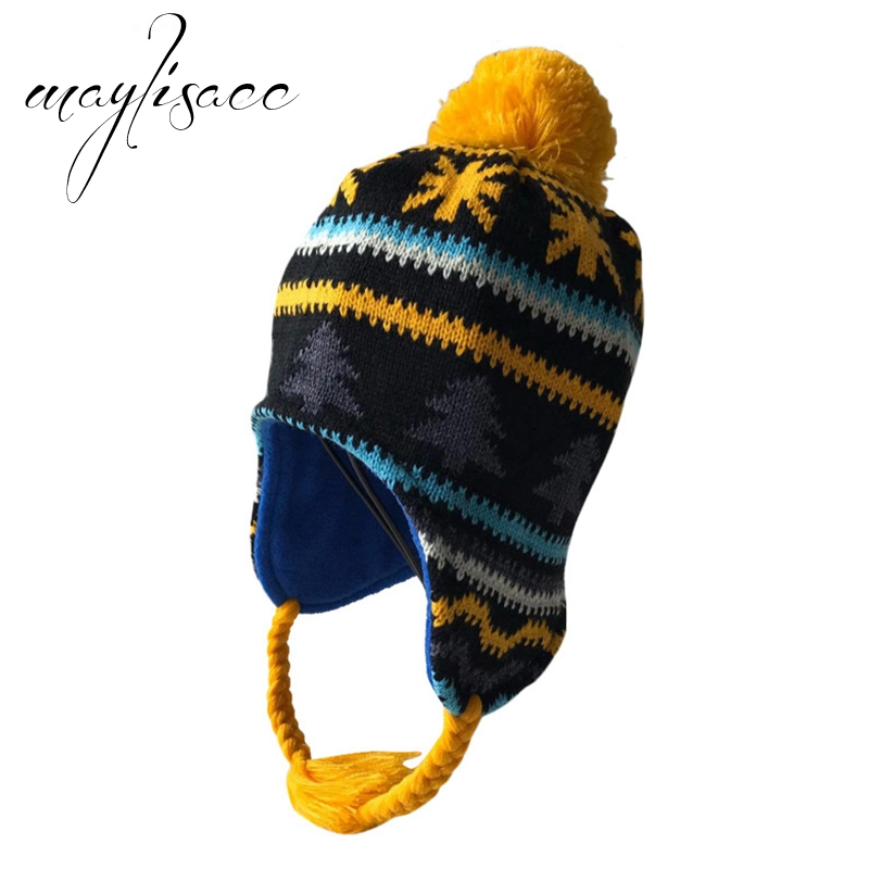 Maylisacc Children Winter Warm Knitted Hat   Skullies     Beanies   Ear Protection Hat Best Gift for Kids Boys Girls Outdoor Sports Hat