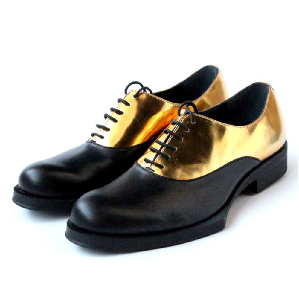 Geometric bottom men's shoes gold mosaic pure manual hit color mens dress shoes