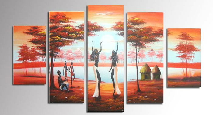 African Indian dance Hand Painted canvas Oil Paintings Art Canvas Landscape Ship Picture Home Decor Wall Art Paintings Gift