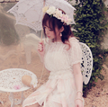 Princess sweet lolita shirt BoBON21 Original poka dot white short sleeve off shoulder lace condole belt two-piece set T1188