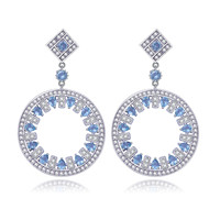 Luxe Vintage Big Round Pendentif Boucles D'oreilles Pour Les Femmes rose Cubique Zircon Cristal De Mariage Parti Charme Jewerly Cadeau