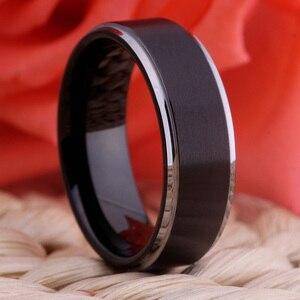 Image 5 - Obrączka męska obrączka damska moda pierścionek zaręczynowy matowy czarny ze srebrnym pierścieniem wolframowym 100% wolframowy palec serdeczny