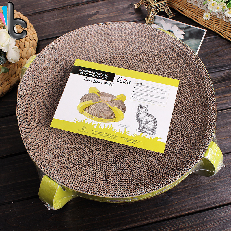 Cat Pet Toy Round Corrugated Cardboard Pet Scratcher Kitty Toy Cat Bed Cat Toys with Catnip Toys