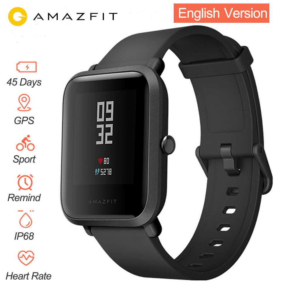 English Version Smart Watch Xiaomi Amazfit Bip Huami Mi Pace Lite IP68 GPS Gloness Smartwatch Heart Rate 45 Days Standby secadora de cabello nova