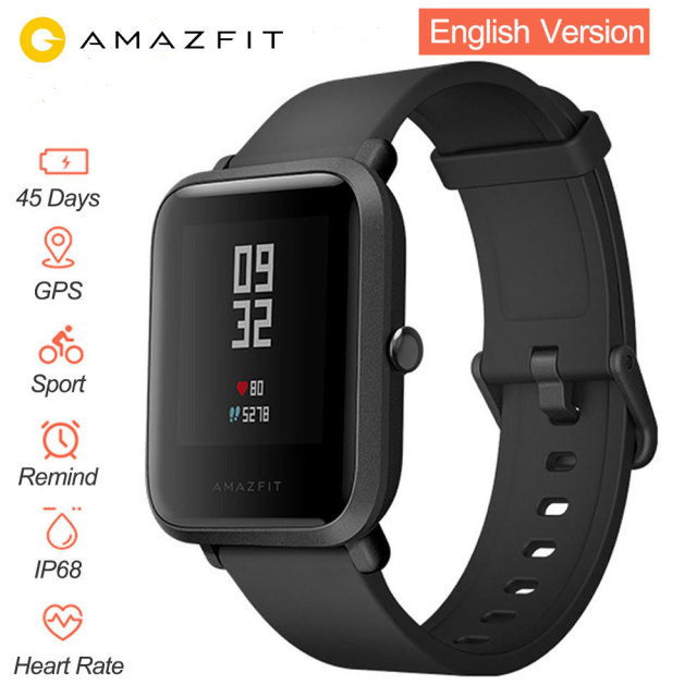 English Version Smart Watch Amazfit Bip Huami IP68 GPS Gloness Smartwatch Heart Rate 45 Days Standby