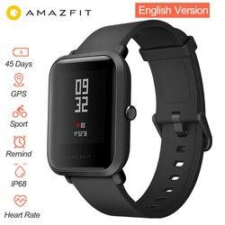 Inglês versão relógio inteligente xiao mi amazfit bip hua mi ritmo lite ip68 gps gloness smartwatch freqüência cardíaca 45 dias de espera