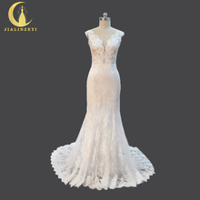 Rhine Real Sample Sexy Lace V Neck Mermaid Beach Thin Bridal Wedding Dresses Wedding Gown