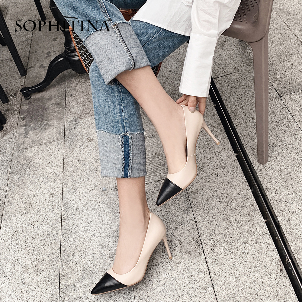 SOPHITINA Concise Elegant Pumps for Female Sexy Pointed Toe High Thin Heel Quality Mix color Leather