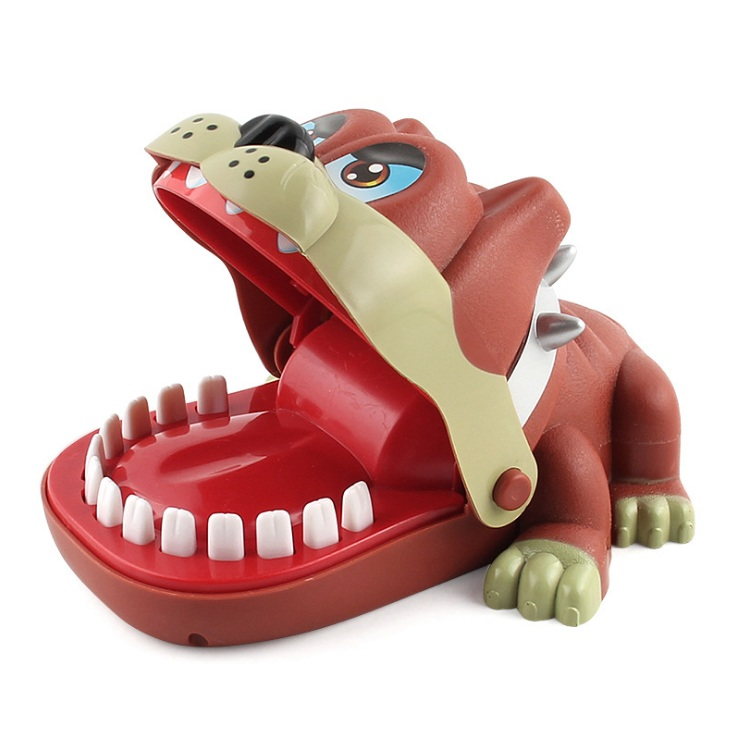 Забавная хитрая игрушка на палец, Акула, бульдог, динозавр, крокодил, стоматолог, новинка, Семейная Игра, игрушка для детей - Цвет: Bulldog