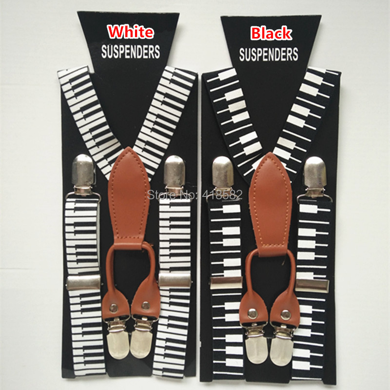 BD035- Cool Piano Key  Suspenders For 1-8 Years Boys And Girls2.5*65 CM 4 Clips Baby Leather Suspenders