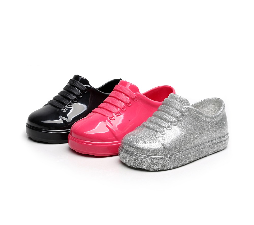 2017 New Mini Melissa Kids Sports Shoes Children Casual Sneakers 3 Color Black Grey Pink Flats
