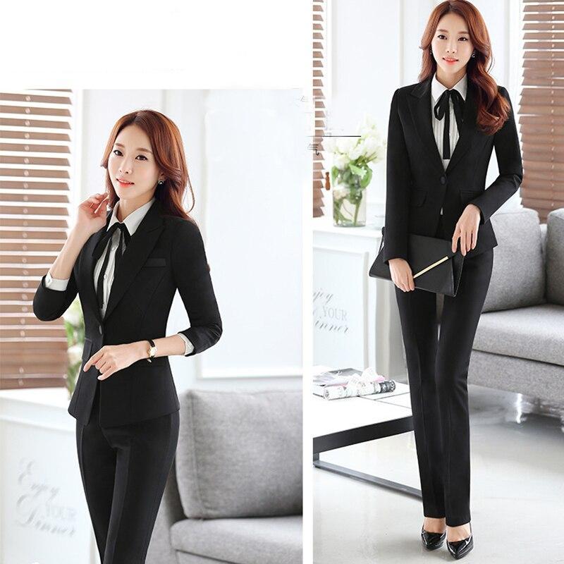 Coréenne Professionnel costumes de costume femmes Blazer veste + pantalon + jupe + chemise 4,3, 2 pièce ensembles noir bureau costumes pour femmes blazer ensemble