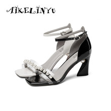 AIKELINYU 34-43 Large Shoes Open Toe High Heel Nightclub Sandals Fashion Beads Cow Leather Women Hot Sale Office